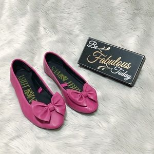 Sam & Libby Women's Pink Bow Flats Shoes size 9.5